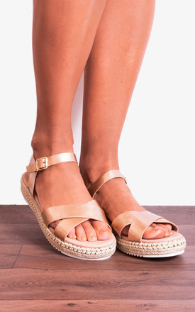Rose Gold Peep Toe Flat Canvas Espadrilles With Straps by Shoe Closet Product photo