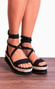 Black Wrap Round Canvas Wedged Platforms Wedges Flatforms Strappy Sandals by Shoe Closet