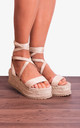 Nude Beige Wrap Round Canvas Wedged Platforms Wedges Flatforms Strappy Sandals by Shoe Closet