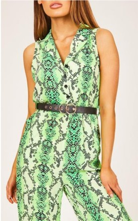 Green Button-Up Snake Print Jumpsuit by Hachu