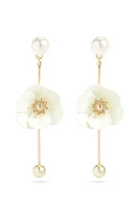 White Flower Drop Earrings With Titanium Posts by With Bling Product photo