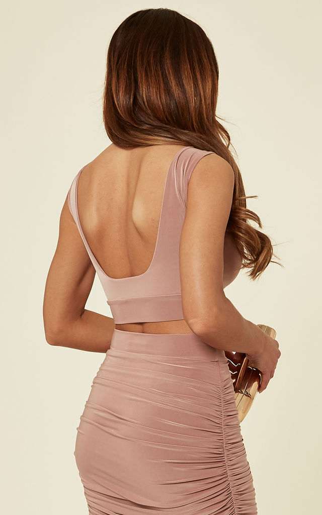 Coco Blush Riley Low Back Crop Top by Pleat Boutique