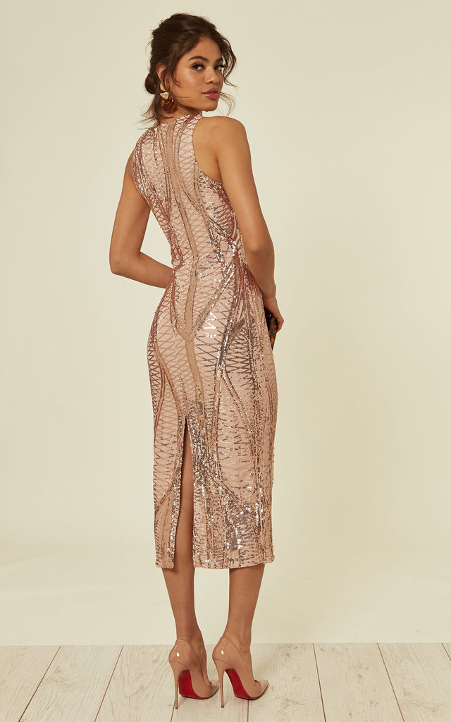 ICONIC LUXE ROSE GOLD CAGE SEQUIN BANDAGE BODYCON WIGGLE ILLUSION MIDI PENCIL DRESS by Nazz Collection