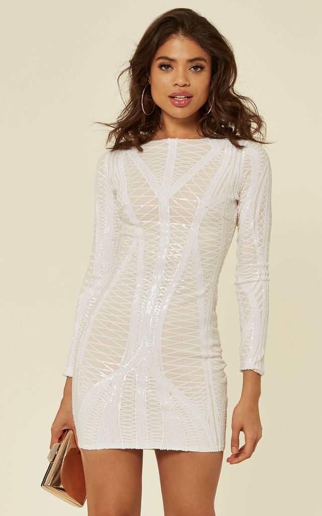 HILTON LUXE WHITE NUDE CAGE SEQUIN BANDAGE BODYCON ILLUSION DRESS by Nazz Collection