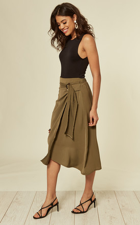 Khaki Midi Skirt by DIVINE GRACE
