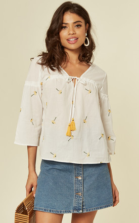 White Embroidered Oversized Summer Top by DIVINE GRACE