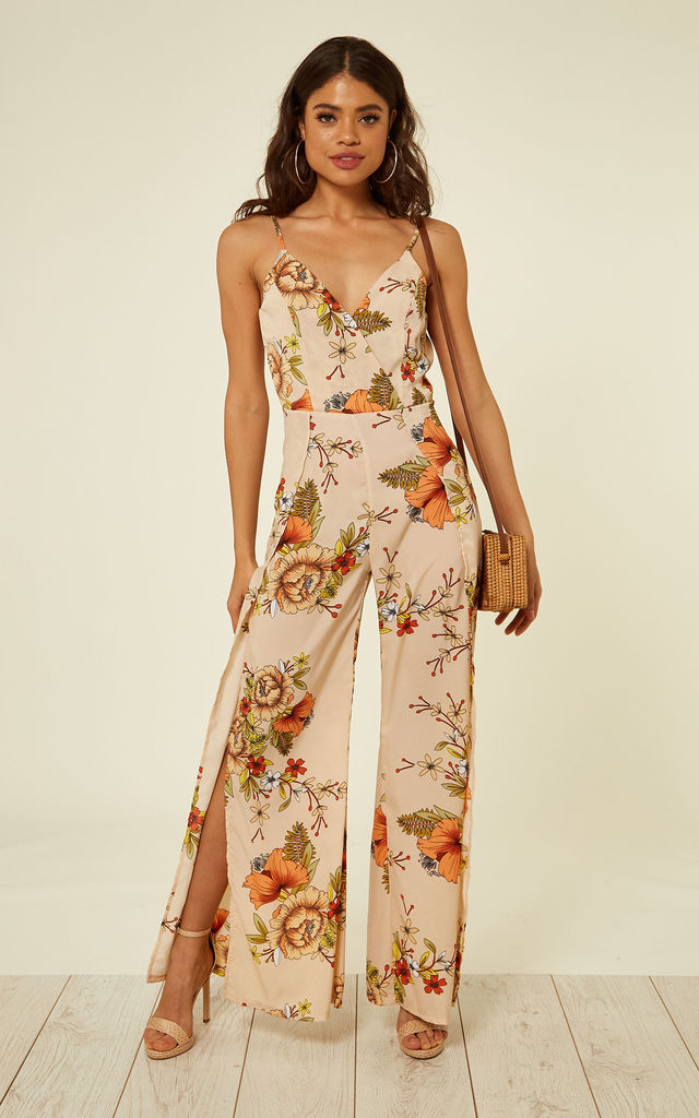 NUDE AND ORANGE FLORAL PRINT JUMPSUIT by Oeuvre