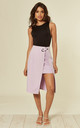 LILAC ASYMMETRIC SKIRT WITH O-RING DETAIL by Oeuvre