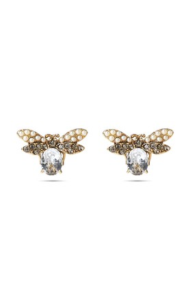 Crystal Swarovski And Pearl Bee Stud Earrings by With Bling Product photo