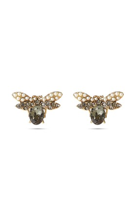 Grey Swarovski And Pearl Bee Stud Earrings by With Bling Product photo
