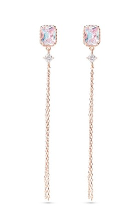 Rose Gold Chain Earrings With Sterling Silver Posts by With Bling Product photo