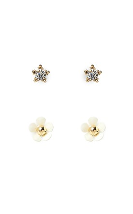 White Pack Of 2 Small Flower Earrings, Titanium Posts by With Bling Product photo