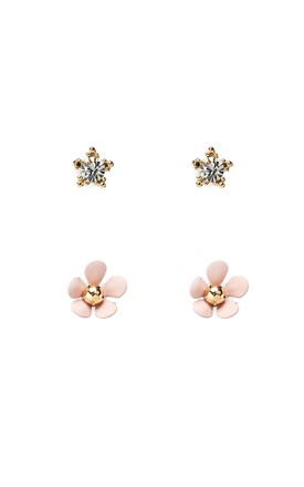 Pink Pack Of 2 Small Flower Earrings, Titanium Posts by With Bling Product photo
