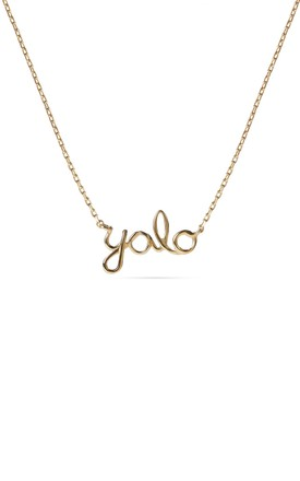 Yolo Pendant Gold Necklace, Sterling Silver Chain by With Bling Product photo