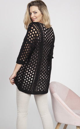 Openwork cape, black by MKM Knitwear Design