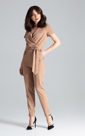 Brown Short-sleeved Jumpsuit With Long Legs by LENITIF