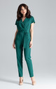Green Short-sleeved Jumpsuit With Long Legs by LENITIF