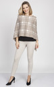 Knitted Cape in Beige/Mocha check by MKM Knitwear Design