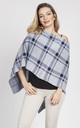 Knitted Cape in light grey/navy blue check by MKM Knitwear Design
