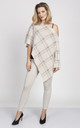 Knitted Cape in mocha/cream check by MKM Knitwear Design