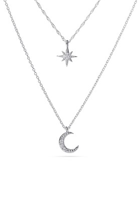 Silver Layered Moon And Star Necklace by With Bling Product photo