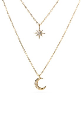 Gold Layered Moon And Star Necklace by With Bling Product photo