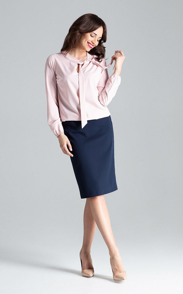 Pink Blouse With a Tied Neckline by LENITIF