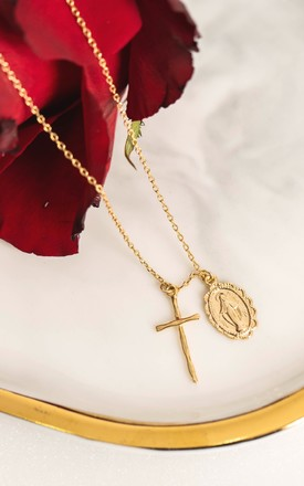 Gold Saint and Cross Pendant Necklace by With Bling