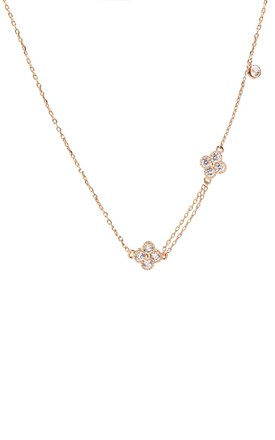 Rose Gold Unbalanced Flower Necklace by With Bling Product photo