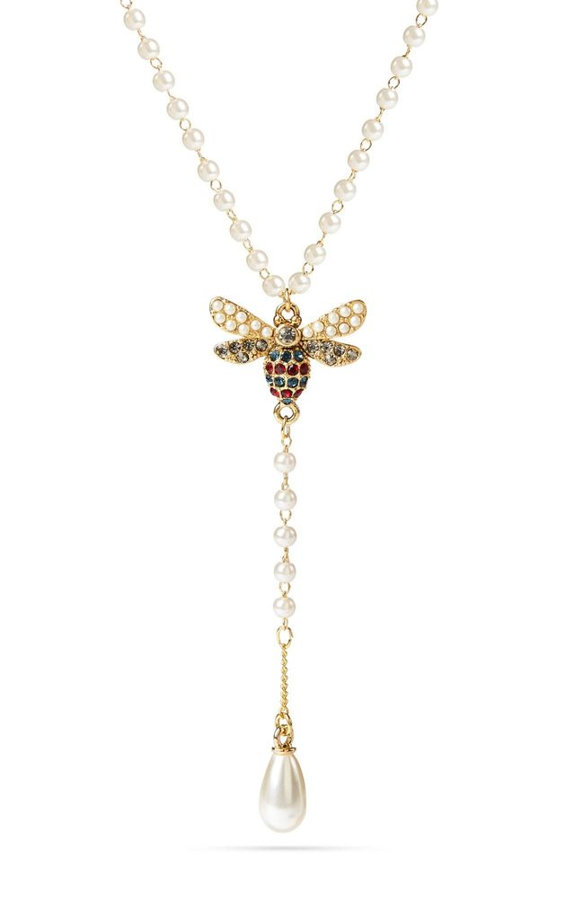 Swarovski and Pearl Bee Necklace by With Bling