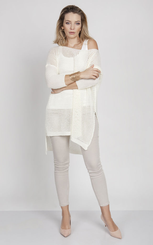 Openwork sweater in ecru by MKM Knitwear Design