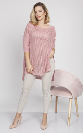 Openwork sweater in pink by MKM Knitwear Design
