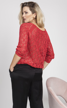 Knitwear blouse with a raglan sleeve - coral by MKM Knitwear Design