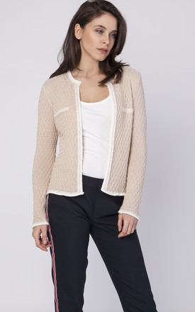 Cardigan with contrasting pipping in beige by MKM Knitwear Design