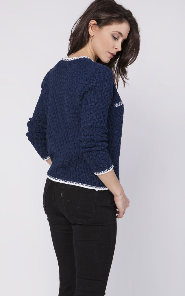 Cardigan with contrasting pipping in navy by MKM Knitwear Design