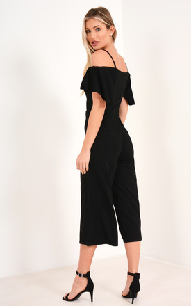 Off Shoulder Frill Culotte Jumpsuit in Black by Premier Glam