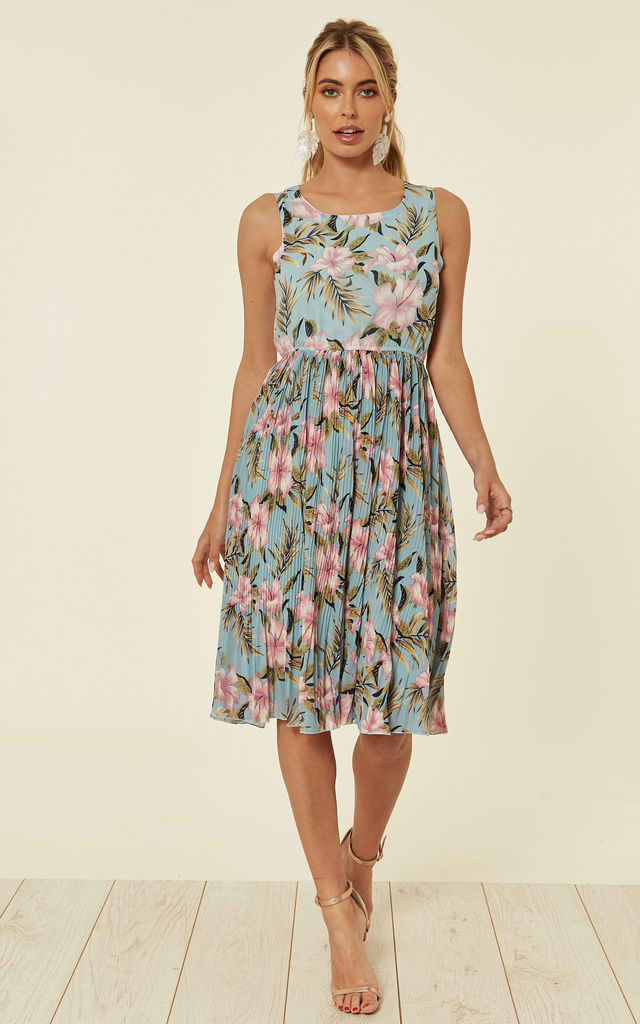 ab71b447967eb Sleeveless Pleated Midi Dress In Mint Blue And Pink Floral Print By TENKI  LONDON