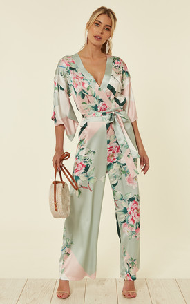 Floral Geometric Print Kimono Jumpsuit by Liquorish Product photo