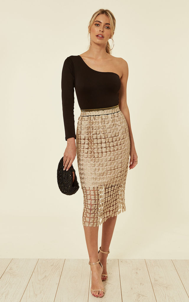 Gold Yellow Floral Lace Pencil Skirt by TENKI LONDON