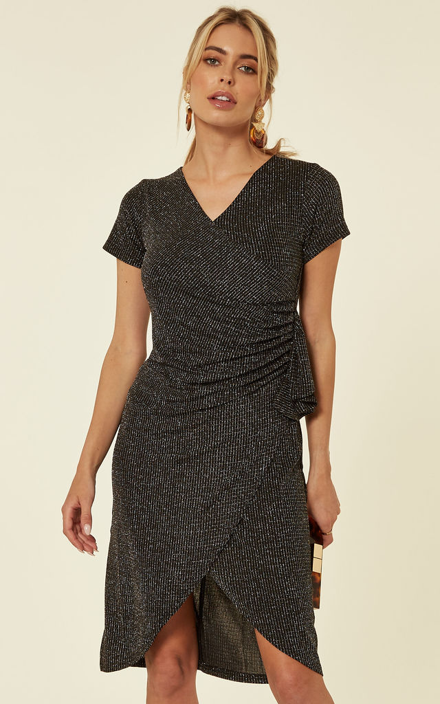 4db5981a Ruched Ruffle High Low Wrap Dress In Sparkly Black | TENKI LONDON ...