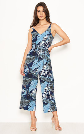 Navy Strappy Tropical Jumpsuit by AX Paris