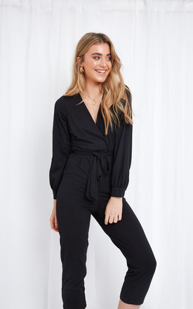 Winnie Jersey Wrap Jumpsuit - Black by Pretty Lavish