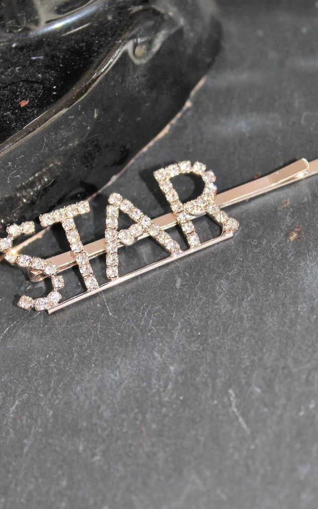Gold star diamante hair clip hair slide by Kate Coleman
