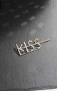 Gold Kiss word diamante hair clip crystal hairslide by Kate Coleman