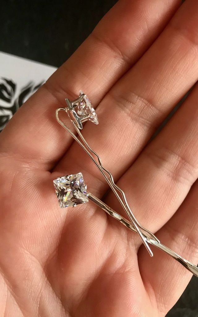 Silver diamond crystal hair pin wedding guest by Kate Coleman