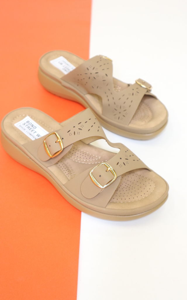 Taupe buckle sandals by Bond Street Shoe Company