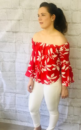 Bardot Off Shoulder Top With Flute Sleeves In Red Leaf Print by Pink Lemonade Boutique Product photo