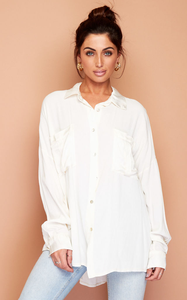 Cream White Satin Details Summer Blouse Shirt by Wired Angel