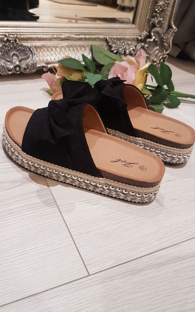 Black Suede Bow Espadrille Slider by FOXY FROX