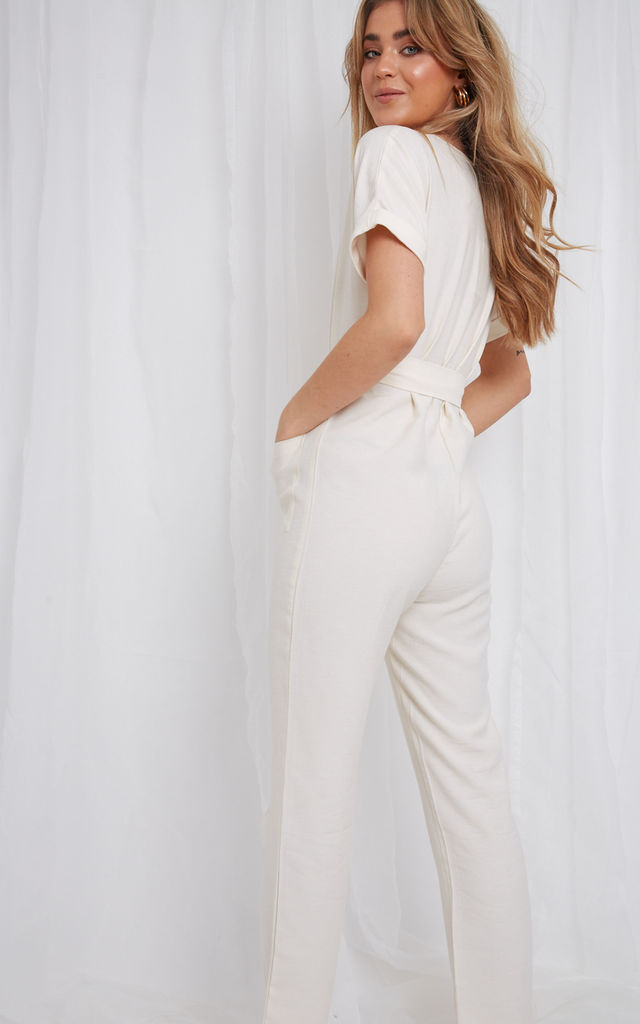 Nylah Utility Jumpsuit - Cream by Pretty Lavish